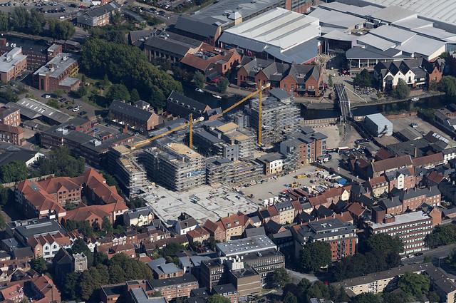 Aerial of St Annes Quarter development in Norwich