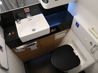 First Class lavatory in the 777-300ER   by A. Wee