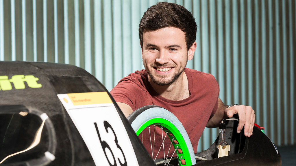 A student investigates the eco-marathon car