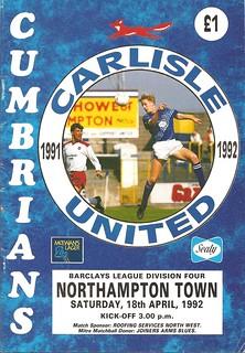 Carlisle United V Northampton Town 18-4-1992   by cumbriangroundhopper