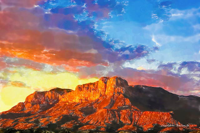Digital Watercolor Painting of El Capitan by Charles W. Bailey, Jr.