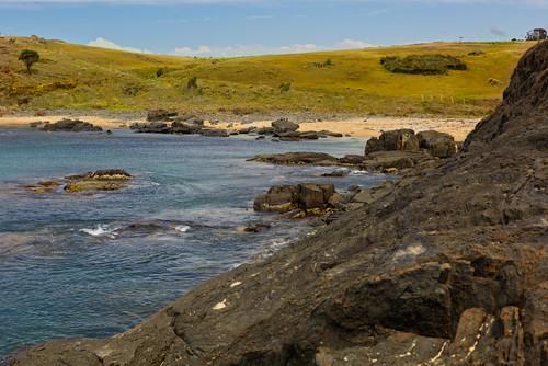 beach sand rocks landscape hills tasmania