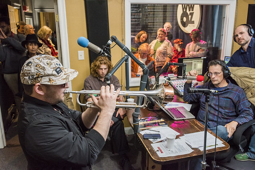Eric Benny Bloom on air with TR Johnson at WWOZ's 38th birthday - 12.4.18. Photo by Ryan Hodgson-Rigsbee rhrphoto.com.