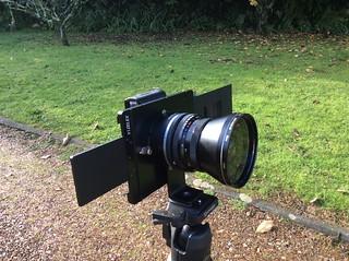 Fotodiox Vizelex Rhinocam Fuji to Pentax 645 model. Fujifilm X-M1 camera. Carl Zeiss Jena MC Flektogon 4/50 lens. Pentacon to Pentax 645 mount adapter (Front)