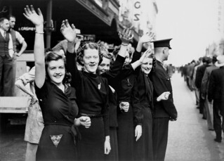 Group of shop assistants watching the RAAF parade in Queen Street Brisbane, August 1940