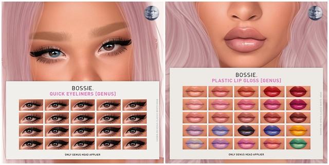 Bossie. quick eyeliners & plastic lip gloss for GENUS