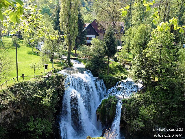 Croatia, Rastoke - Rastoke waterfalls in spring time
