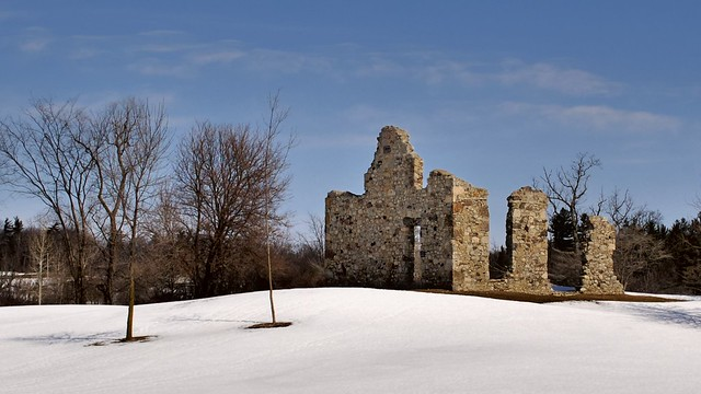 19thC fieldstone farmhouse ruin, Township of North Dumfries, Waterloo Region, Ontario..
