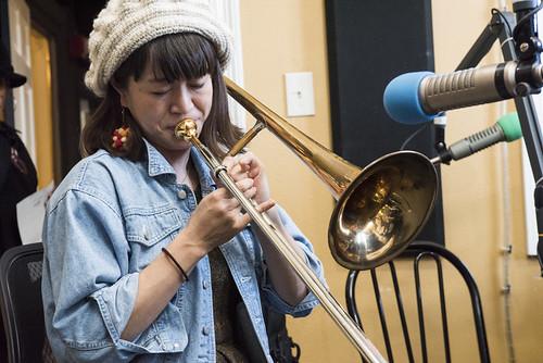 Haruka Kikuchi at WWOZ's 38th birthday celebration - 12.4.18. Photo by Ryan Hodgson-Rigsbee rhrphoto.com.