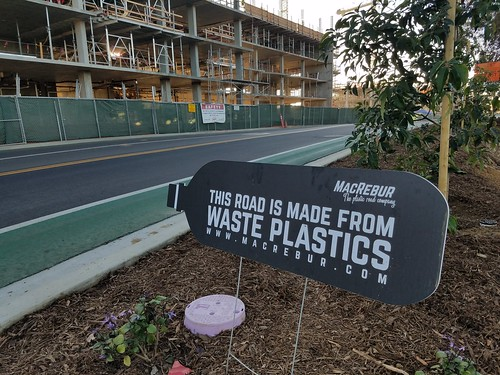 Road Made From Plastic Sign - UCSD