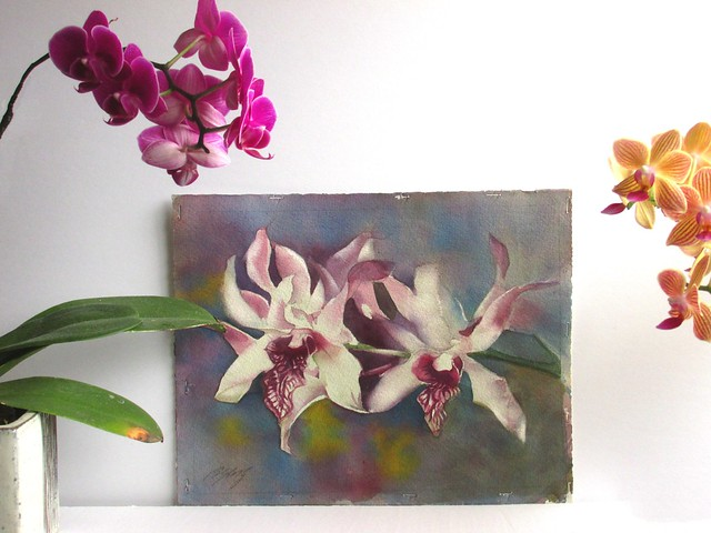 orchid with orchid painting