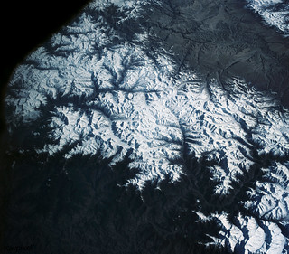 View of the Himalaya Mountain Range in the India-Nepal-Tibet border area. Original from NASA. Digitally enhanced by rawpixel.
