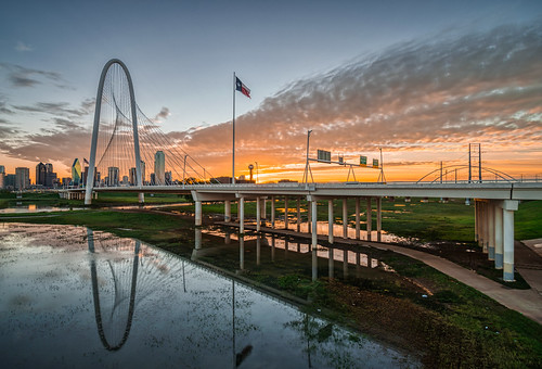 dallas hdr margarethunthillbridge nikon nikond5300 outdoor texas trinityriver bridge city cityscape clouds dawn downtown flag flagpole geotagged longexposure morning reflection reflections river sky skyline sunrise urban water