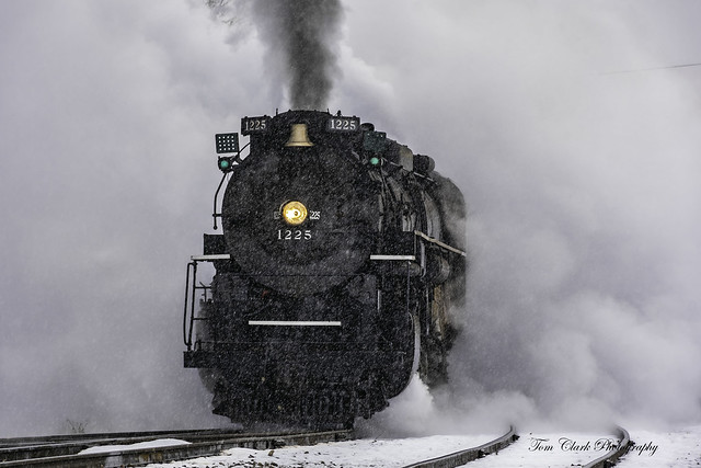 keeping ahead of the North Pole Express ~ Pere Marquette 1225 on its run between Owosso and Ashley