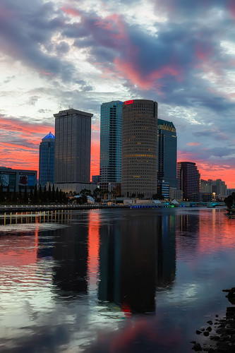 beercan florida hillsboroughriver reflection rivergatebuilding skyline sunrise sykesbuilding tampa tampariverwalk unitedstates us