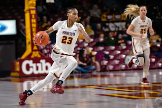 Kenisha Bell (23) brings the ball down the court, Minnesota Golden Gophers vs. Cornell Big Red | by Lorie Shaull