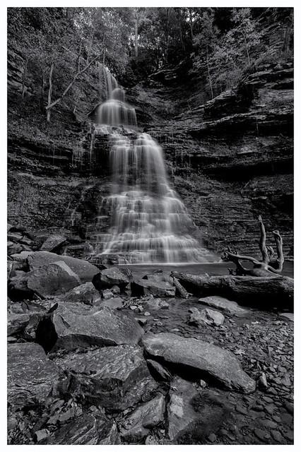 Cathedral  Falls, B&W