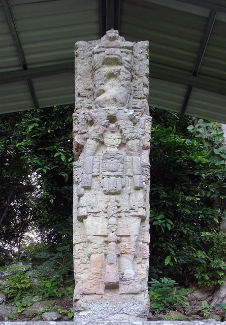 Estela E de piedra sitio arqueologico Maya de Copan Honduras