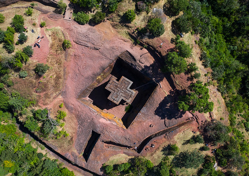 aerialview africa amhararegion ancient architecture builtstructure carving christianity church colourimage colourpicture cross day drone ethiopia ethiopia18dr0175 famousplace fullframe giyorgis history horizontal hornofafrica internationallandmark lalibela medieval monolithic monument nopeople orthodox orthodoxchurch outdoors photography placeofworship religion rock saintgeorge scenics spirituality stgeorge stgeorgeschurch traveldestinations unescoworldheritagesite et