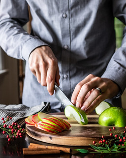 thin slices of red & green apples make an easy festive garnish | by Husbands That Cook