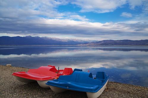 lake water boat sky clouds macedonia nord