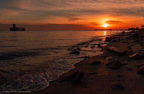 babiedołytorpedownia jesień balticsea sky bay sea beach sunrise water sand stones