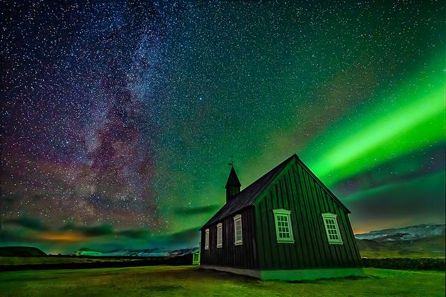 Northern lights on a church..