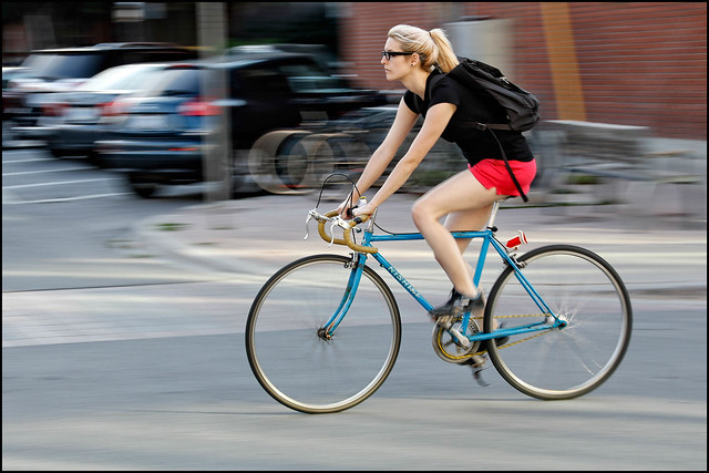 Blue Nishiki Rider on Bank Street