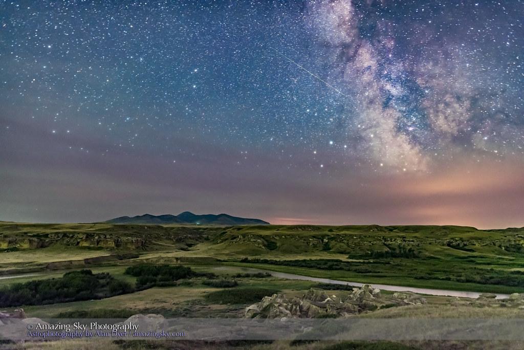 Milky Way and Meteor over Milk River