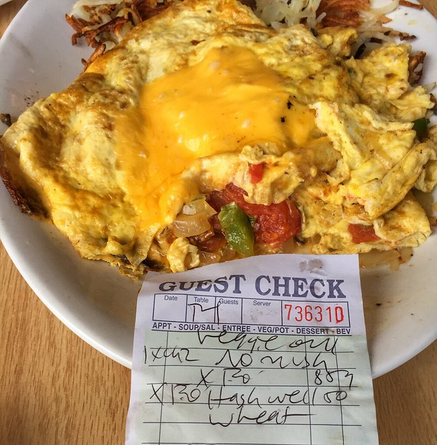 Beethoven's 7th Symphony  (and the score) disguised as a veggie omlette (no mushrooms,extra onions) makes an appearence at Jo's Cafe.