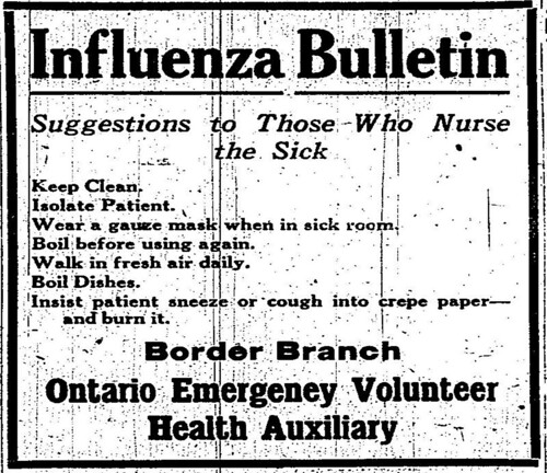 "Ontario Emergency Volunteer Health Auxiliary (Border Branch). ""Influenza Bulletin"""