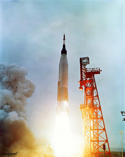 The Mercury-Atlas 7 carrying astronaut M. Scott Carpenter, was launched by NASA from Pad 14, Cape Canaveral, Florida, on May 24, 1962. Original from NASA . Digitally enhanced by rawpixel.