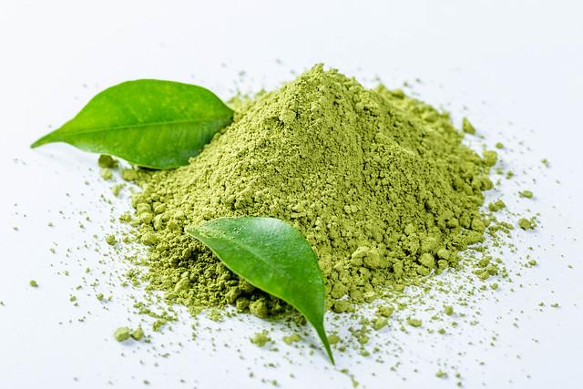 Green tea maccha powder with fresh leaves