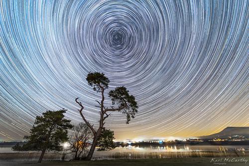 night star trails tree llangorse astro astrophotography
