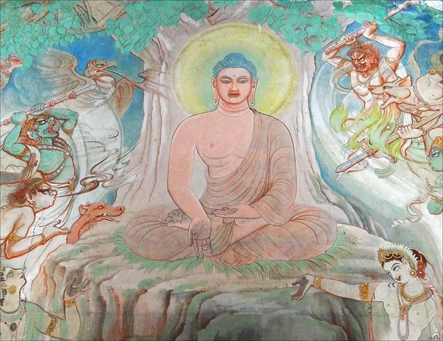 Le Bouddha et les démons (Temple Mulagandhakuti Vihāra, Sârnâth, Inde)