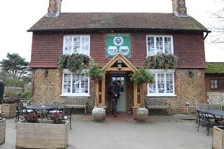 Exiting pub in Thursley