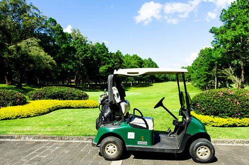 Golf car parked in front of a golf course | by wuestenigel