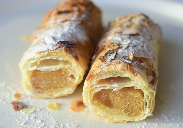 A Dutch Christmas treat, buttery puff pastry filled with  creamy almond paste