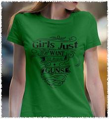 7416ad10f Girls Just Want to Have Guns. Women's Second Amendment. Black Print. Women's :