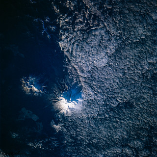 Eaarth observation of Ruapehu, New Zealand's North Island, one of the most active volcanoes in the South Pacific taken during STS-77 mission. May 28th, 1996. Original from NASA. Digitally enhanced by rawpixel.