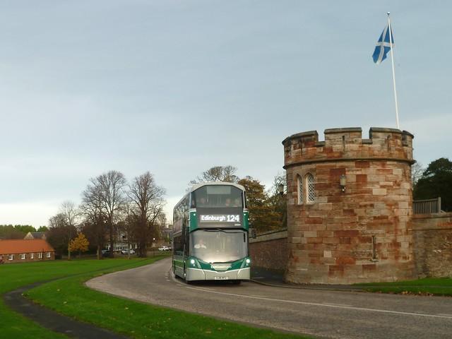 East Coast Buses 20004 passes the grounds of Dirleton Castle, East Lothian