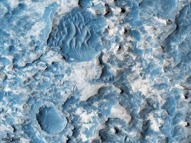 Part of an unnamed crater, itself located inside the much larger Newton Crater, in Terra Sirenum. Original from NASA. Digitally enhanced by rawpixel.