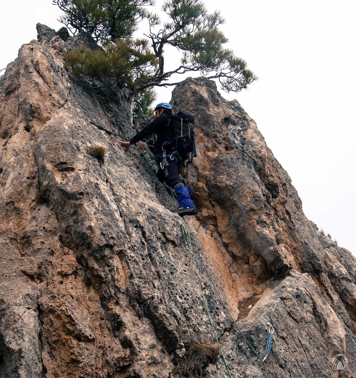 Primer paño de grado IV con el pino en la zona superior para montar la reunión