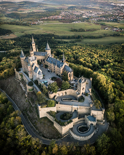 burg hohenzollern castle germany deutschland drone dji mavic morning hill baden württemberg