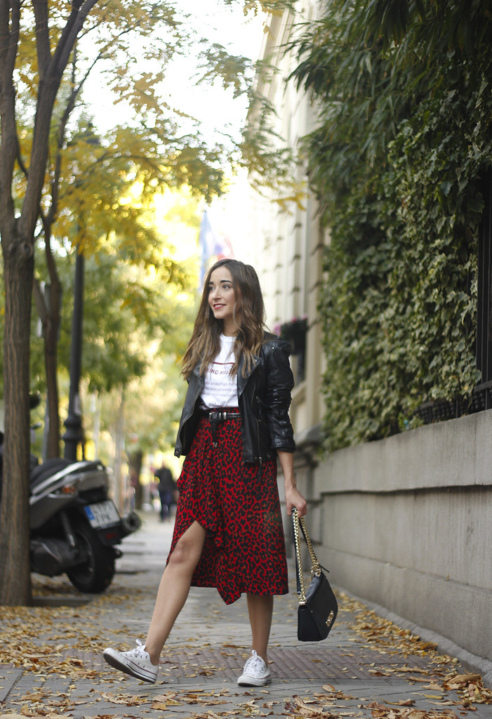 e5414e6ea0 ... midi skirt red leopard print trend black biker jacket converse street  style fall outfit 20185986