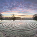 The wider picture - Canterbury Labyrinth (60mp) before the sunrise, cold frosty winter morning at University of Kent Canterbury campus