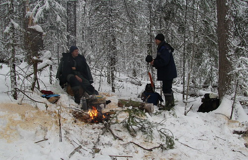 A coffee break during the firewood work | by Yugra State University