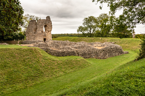 ludgershall castle royal residence ruins wiltshire england architecture earthwork stonework defensive bank ditch grass tree sky landscape