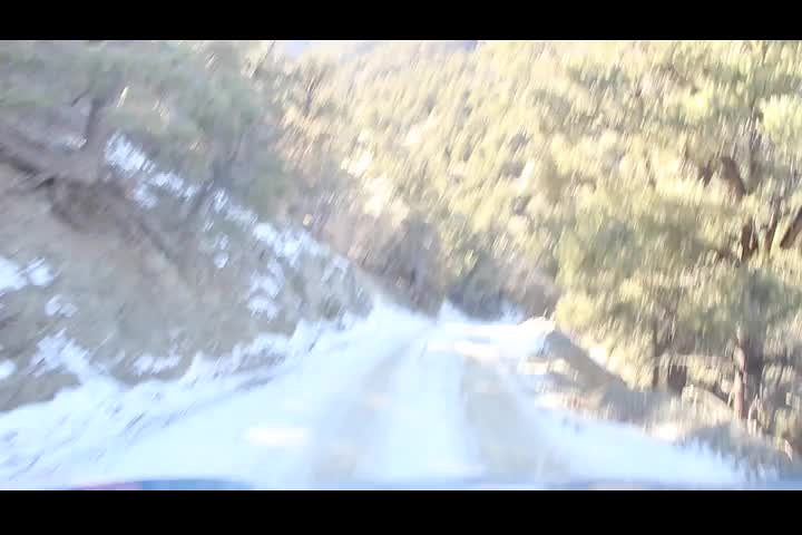 0930 Video of us driving down a snow-covered dirt road just below the Mahogany Flat Campground