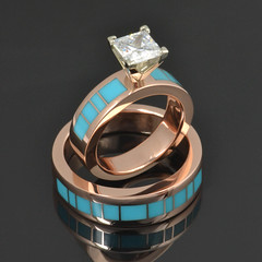 Rose Gold Turquoise Wedding Band and Diamond Engagement Ring